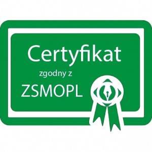Certyfikat zgodny z ZSMOPL