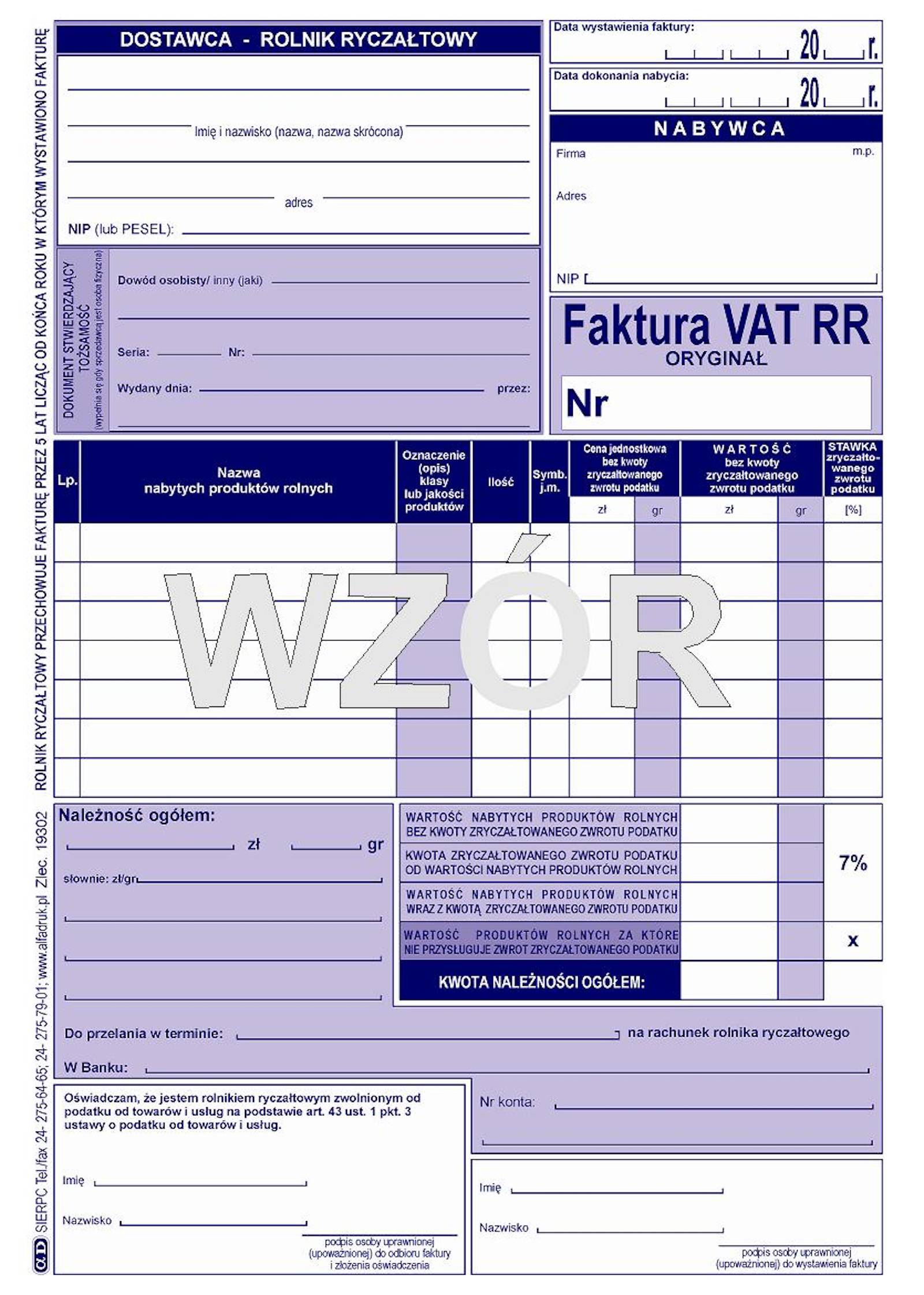 Zmiana zasad wystawiania faktur VAT RR
