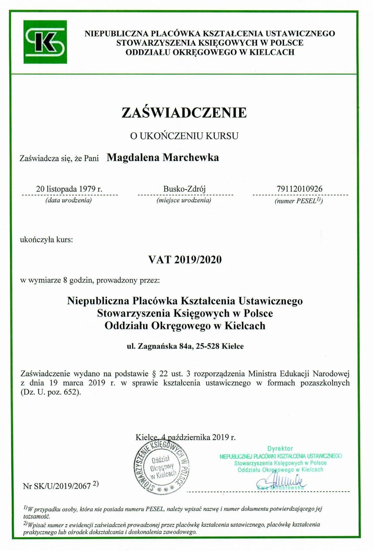 Zaświadczenie o ukończeniu kursu. VAT 2019/2020