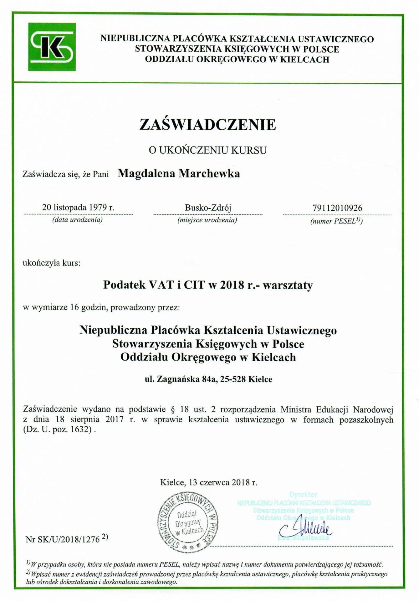 Zaświadczenie o ukończeniu kursu. Podatek VAT i CIT 2018