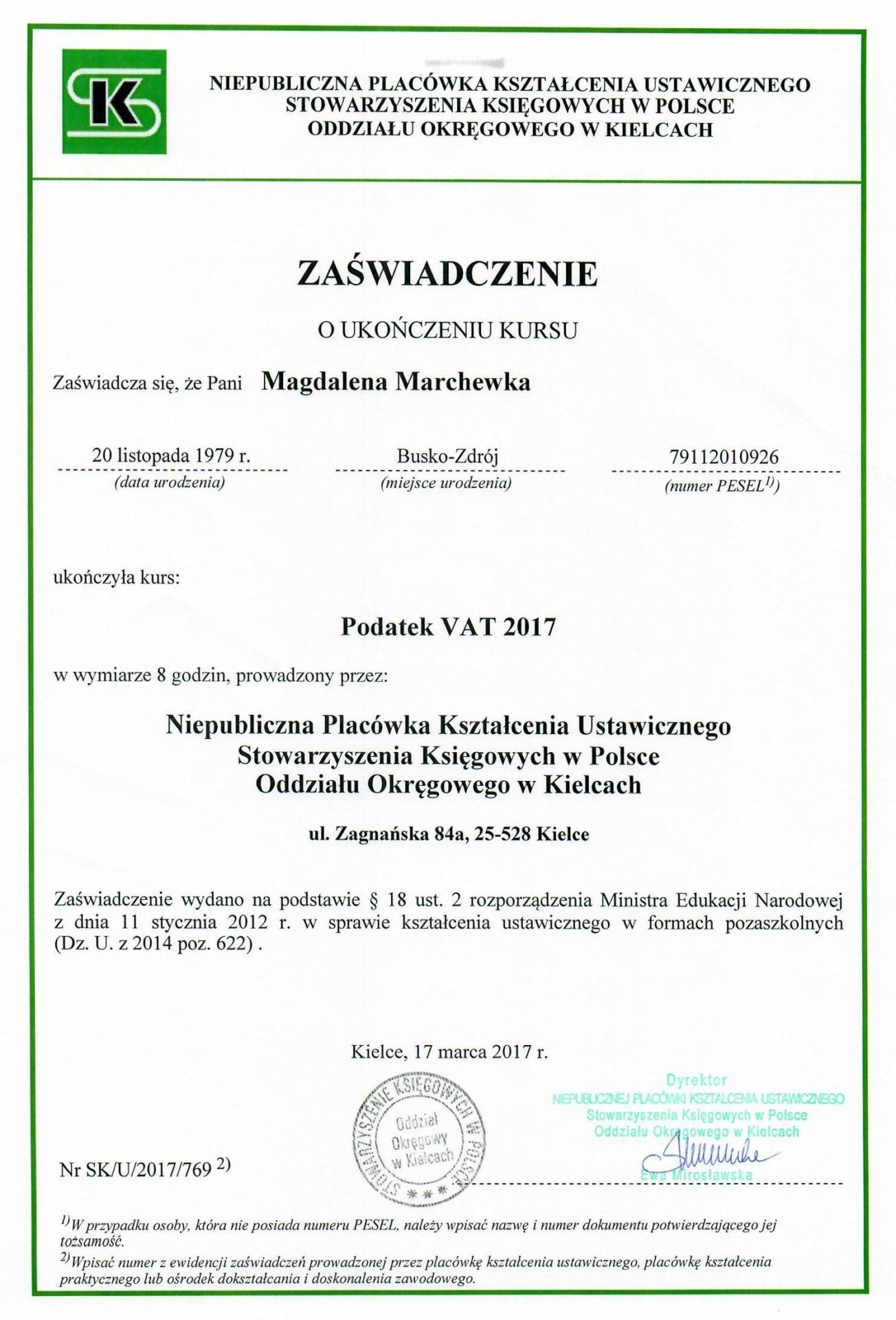 Zaświadczenie o ukończeniu kursu. Podatek VAT 2017